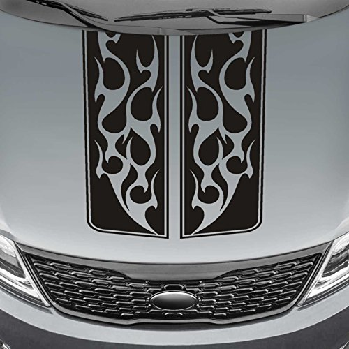 Jeepazoid - Truck Hood Blackout Decal - Tribal Flame Rally Stripe Universal Fit - Black Sticker Flame Hood