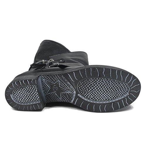Morbidi Italy Made e Nero Time Invernali Stivali in Nero con Donna Biker In Boots Comodi Fibbie Cerniera in Pelle 0315 Vera fwqUZxT