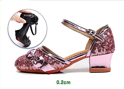 Cystyle Prinzessin Schuhe mit Absatz Mädchen Kostüm Ballerina Schuhe - Schleife und Pailletten Karneval Festlich für Kinder Schwarz/Gold