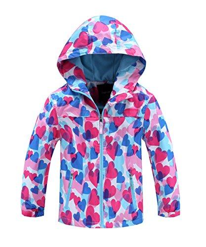 M2C Girls Outdoor Patterned Fleece Lined Light Windproof Jacket with Hood 6/7 Blue ()
