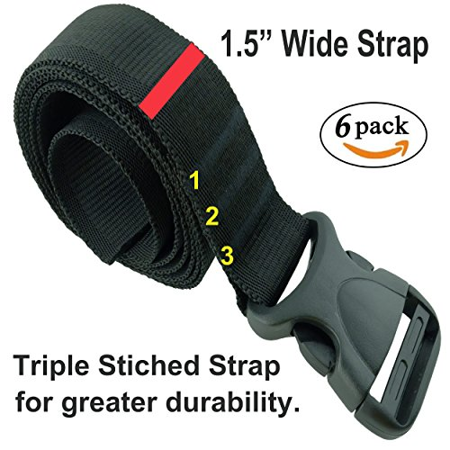 333 World - Strap with Plastic Quick Release Buckle for Lashing Strap, Backpack, Camping, Sleeping Bag, Air Mattress, Luggage Straps, Automotive. (Black 1.5' x 60', 6 pieces)