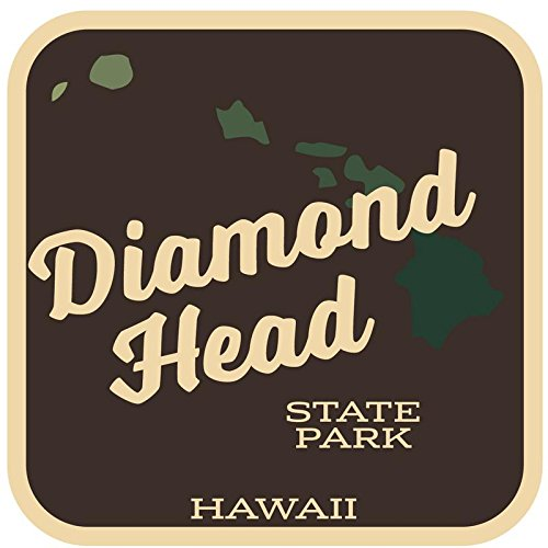 JMM Industries Diamond Head State Park Hawaii Vinyl Decal Sticker Retro Vintage Look 2-Pack 4-inches by 4-inches Premium Quality UV Protective Laminate SPS259