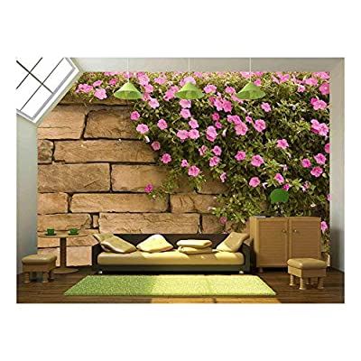 Amazing Object of Art, Classic Artwork, a Spread of Purple Flowers on a Rock Wall