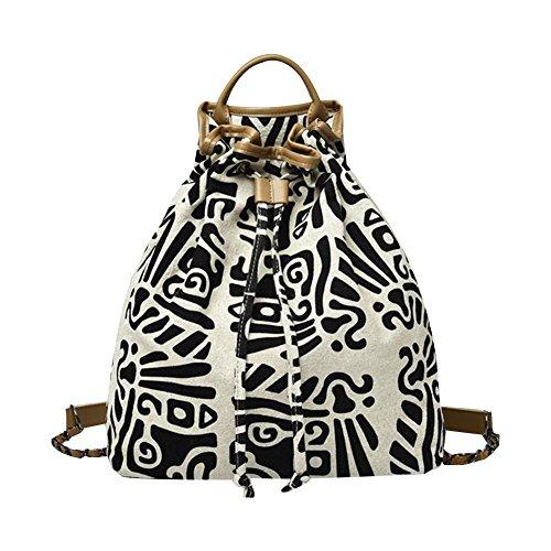 Women's Canvas Travel Bag Student Drawstring Bucket Backpack (Beige) - 1