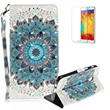 Funyye Folio Wallet Case for Samsung Galaxy J3 2018,Stylish 3D Peacock Flower Fantasy Painted Design Strap Magnetic Flip Case with Stand Credit Card Holder Slots Soft Silicone PU Leather Case for Samsung Galaxy J3 2018,Full Body Shockproof Non Slip Smart Durable Shell Protective Case with Screen Protector