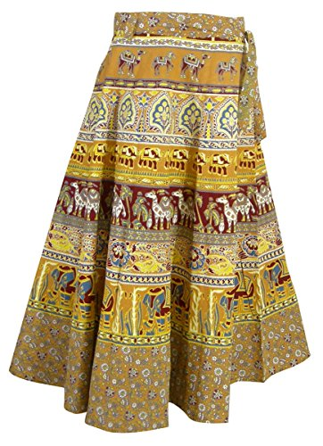 ner Dresses Wrap Around Cotton Skirt (Multicolor3) (Indian Wrap Skirt)