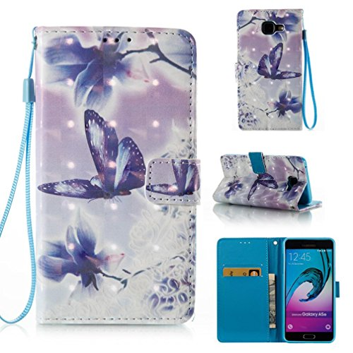 Galaxy A5 2016 case,Detachable PU Leather Case Card Slot Slip-Proof Scratches Resistant Protective Leather Case Flip Stand Wallet Case Credit Card Holder for Samsung Galaxy A510-Butterfly