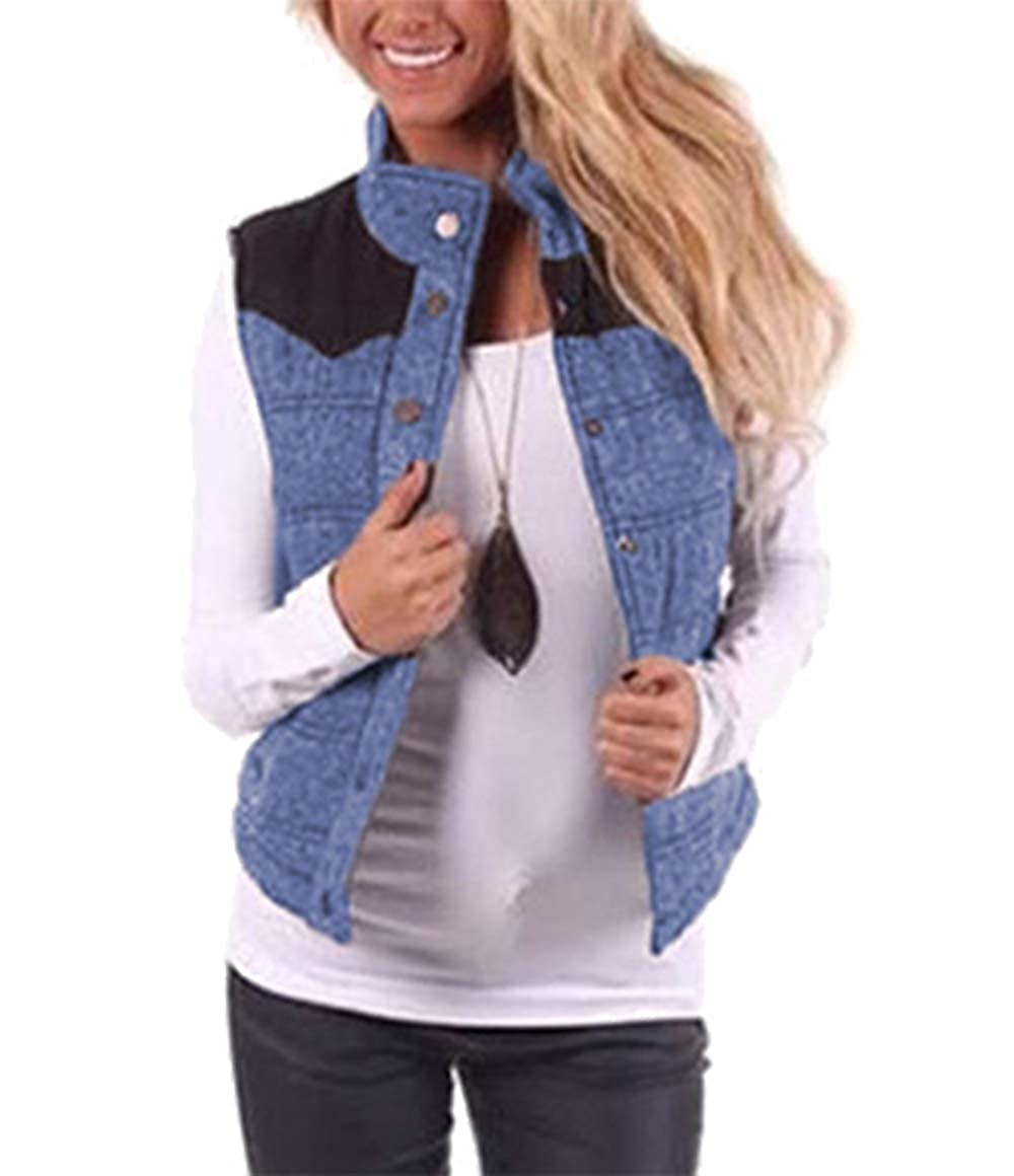 b13a85ad0e3970 Amazon.com  BTFBM Women Stand Collar Button Up Puffer Vest Casual Warm  Quilted Gilet with Pockets  Clothing