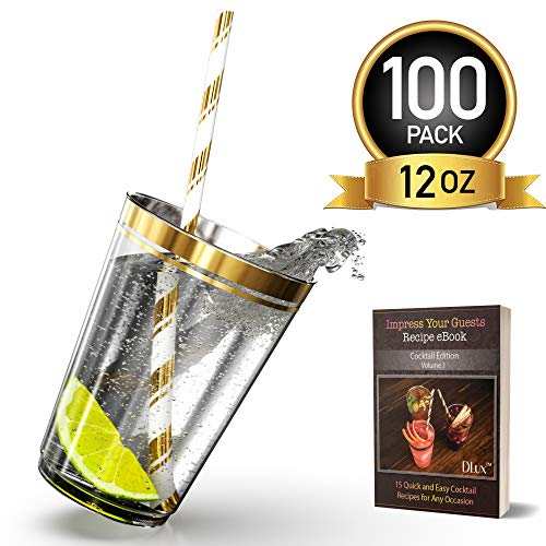 12 oz Gold Rim Plastic Cups with Eco-Friendly Paper Straws - 100 Elegant Clear Rimmed Cocktail & Dessert Tumblers for Weddings & Special Events - Reusable or Disposable - With Drinks Recipe eBook