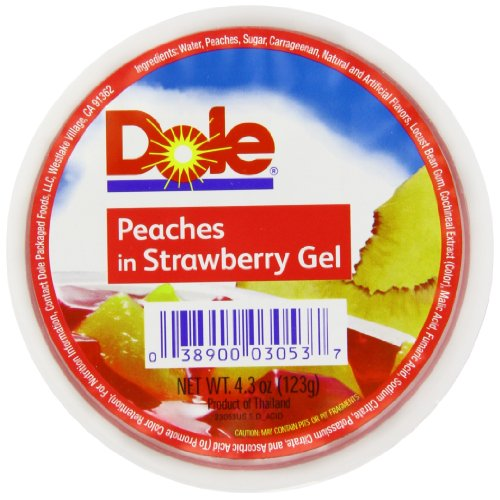 DOLE FRUIT BOWLS, Peaches in Strawberry Flavored Gel Fruit Cups, 4.3 Ounce (36 ()