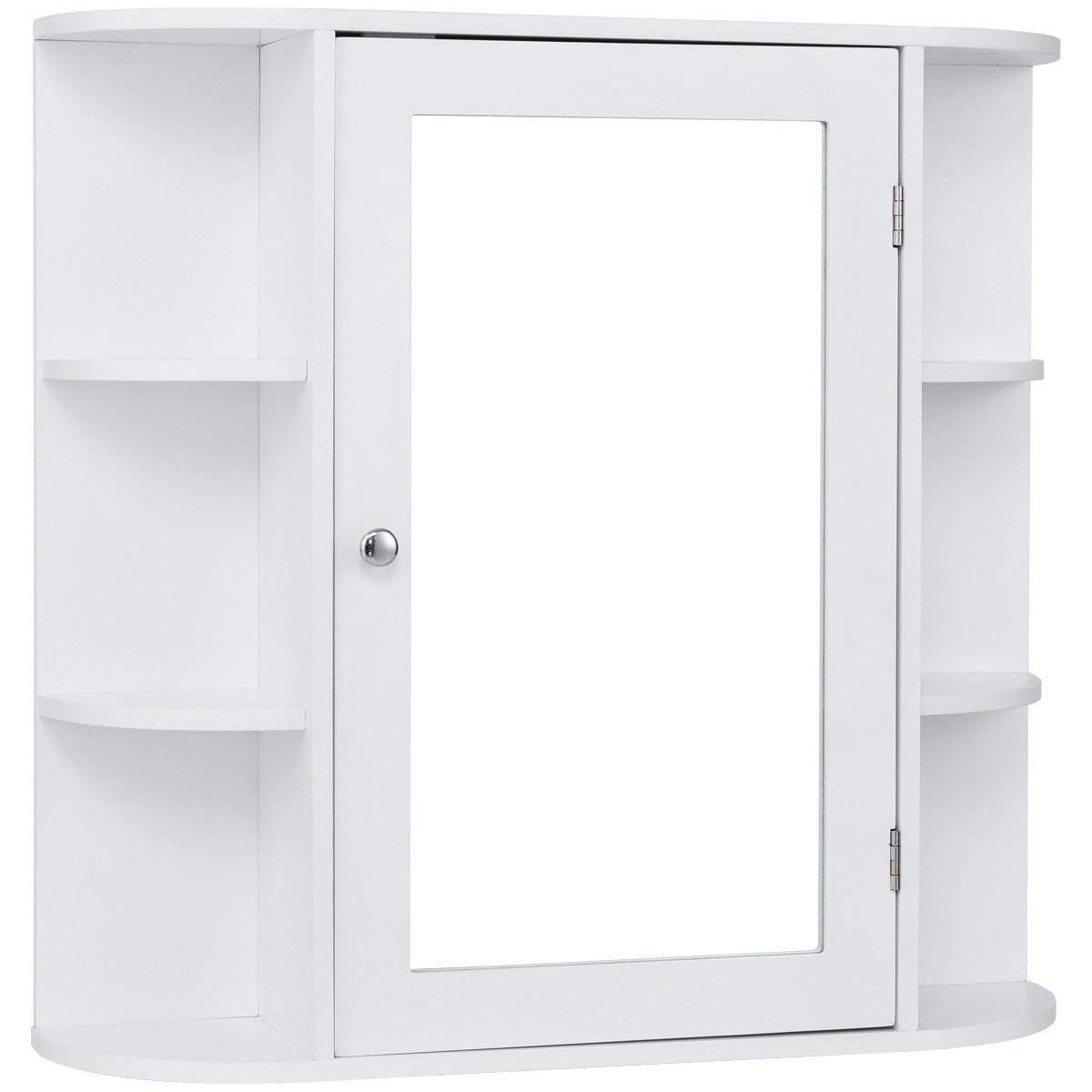 TANGKULA Bathroom Cabinet Single Door Wall Mount with Mirror Organizer Storage Cabinet(2 Tier Inner Shelves)