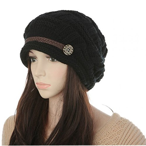 - Tangpan Women Lady Beanie Winter Warm Knit Wool Beanie Hat Crochet Cap Earmuffs Helmet Color Black