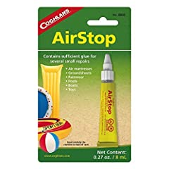 Repair air mattresses, pools, beach toys, groundsheets, and rainwear with Coghlan's AirStop, which creates a permanent seal on any PVC material in minutes. Great for sealing PVC-coated nylon or rayon, AirStop is an essential piece of insuranc...