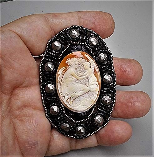1 Antique Shell Cherub Eros & Psyche CAMEO w/Wings in Clouds, Antique Cut Steel Beads Rivets BUCKLE Handmade Beads Surround Frame Brooch/Pendant (Riveted Buckle)