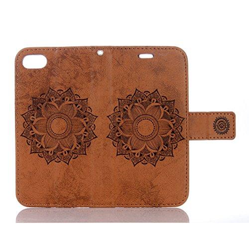 SRY-Bolsa para teléfono móvil Para la caja de cuero de la PU de IPhone 7, color puro grabado con la ranura para tarjeta, acollador, hebilla magnética, abierto plano el teléfono Shell ( Color : Brown ) Brown