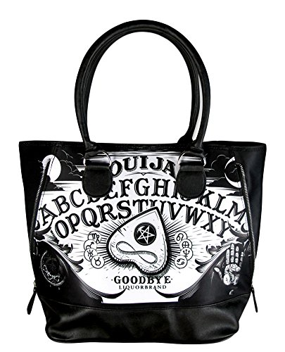 Halloween Purses - Liquorbrand Ouija Board Punk Goth Halloween Zipper Black Shoulder Bag Tote Purse