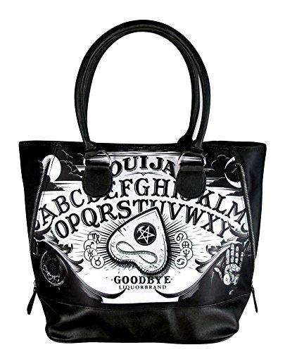 Halloween Purses (Liquorbrand Ouija Board Punk Goth Halloween Zipper Black Shoulder Bag Tote Purse)