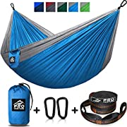 #LightningDeal 85% claimed: Double Camping Hammock - XL Hammocks, Free Premium Straps & Carabiners - Lightweight and Compact Parachute Nylon. Backpacker Approved and Ready for Adventure! 10x6.5FT