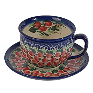 Traditional Polish Pottery, Handcrafted Ceramic Teacup and Saucer 210ml, Boleslawiec Style Pattern, F.101.Cranberry