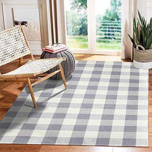 LEEVAN Cotton Buffalo Plaid Rugs 47 x71 Checkered Gingham Rug Washable Woven Outdoor Porch Welcome Braided Door Mat for Layered Kitchen Farmhouse Bathroom Entryway Throw Carpet, Grey and White