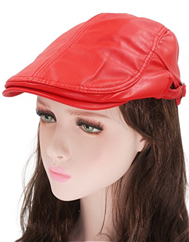 Roffatide Classic Buckle PU Leather Newsboy Cap Driving Flat Cabby Ivy Beret Hat Red by Roffatide