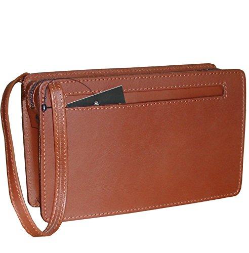 Pequeño bolso de mano de hombre en piel vacuno de alta calidad, textura fina y suave.
