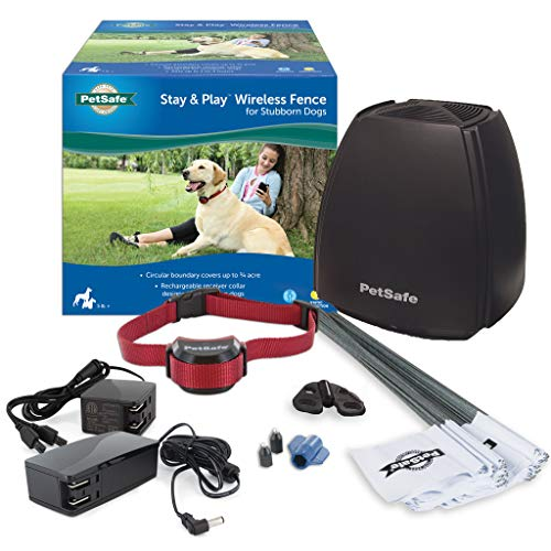 PetSafe Stay & Play Wireless Fence for Stubborn Dogs - Above Ground Electric Pet Fence - from the Parent Company of INVISIBLE FENCE Brand (Stubborn Dog Fence Kit)