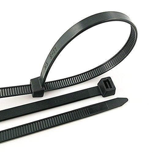 HS Black Zip Ties Heavy Duty 175 Pounds Weather UV Resistant Cable Ties (100 Pack) 0.35 Inch Wide Thick Electrical Zip Ties,Outdoor Indoor Purpose,17 Inch ()