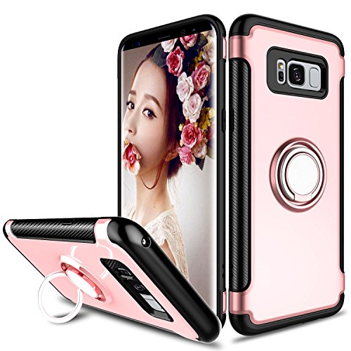 Galaxy S8 Plus Case, Zenic Slim Dual Layer Hybrid Defender Armor 360 Degree Rotating Ring Kickstand Protective Case with Magnetic Case Cover for Samsung Galaxy S8 Plus / S8+ / S8 Edge (Rose Gold)