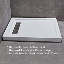 "WoodBridge 48""x32""  Reversible Acrylic Shower Base With Recessed Trench Side Drain Design, include Stainless Steel Linear Drain Cover At Brushed Nickel Finish, , 48"" L x 32"" W x 3.5"" H, SBR4832S-2"