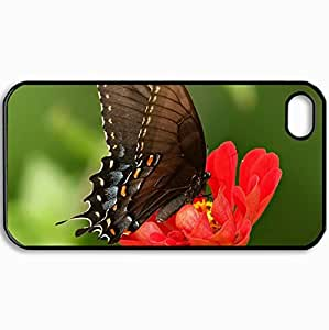 Personalized Protective Hardshell Back Hardcover For iPhone 4/4S, Butterfly On Red Flower Design In Black Case Color