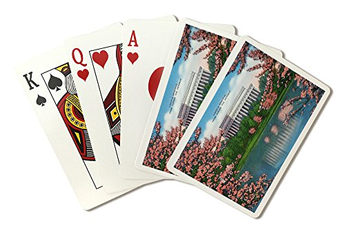 Washington DC - View of the Lincoln Memorial from across the Potomac, Cherry Trees (Playing Card Deck - 52 Card Poker Size with Jokers)