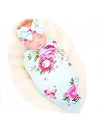 Newborn Receiving Blanket Headband Set Flower Print Baby Swaddle Receiving Blankets galabloomer