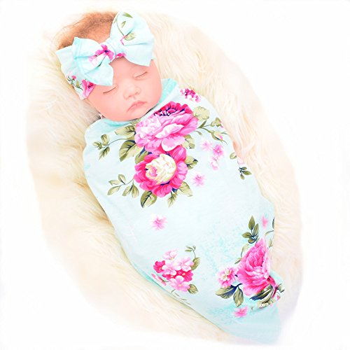 Galabloomer Newborn Receiving Blanket Headband Set Flower Print Baby Swaddle Receiving Blankets (Baby Sets Boy Bedding Crib Jordan)
