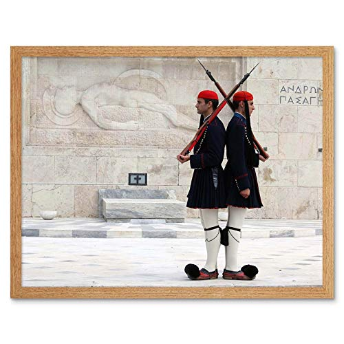 Wee Blue Coo Evzones Or Tsoliades Palace Guards Athens Greece Art Print Framed Poster Wall Decor 12x16 inch ()