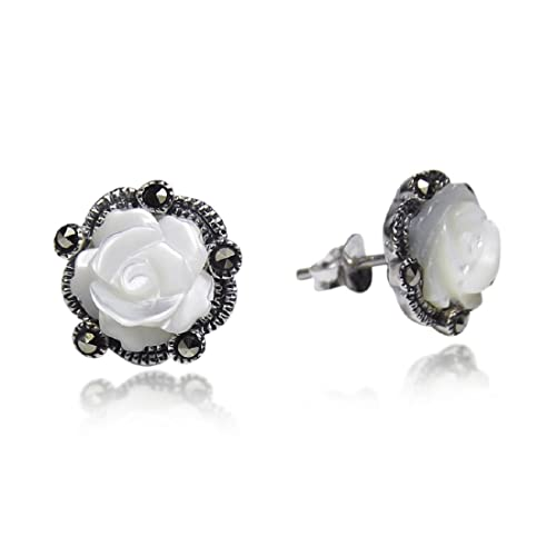 Carved Rose Mother of Pearl and Marcasite Style Pyrite .925 Sterling Silver Stud Earrings