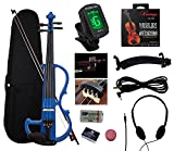 YMC SEV01 Full-Size 4/4 Solid Wood Electric/Silent Violin with Ebony Fittings Complete Kit (Hard Case,Bow,E-Tuner,Headphones,Shoulder Rest,Mute,Pinkinest,Extra Strings,Rosin,Violin Hanger)--Black