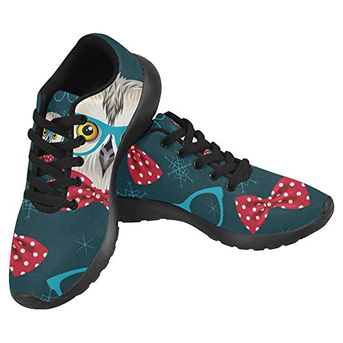 InterestPrint Womens Jogging Running Sneaker Lightweight Go Easy Walking Casual Comfort Sports Running Shoes Funny Owl With Glasses Multi 1 WbVFav4rB