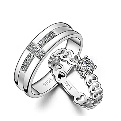 Buy 19 Likes Love Engagement Silver Metal Alloy Finger Couples Rings