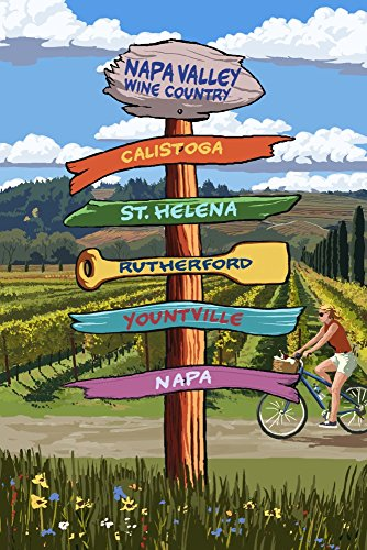Napa Valley Wine Country, California - Destination Signpost Travel Poster Art Print