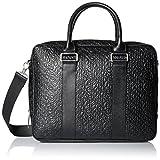 Calvin Klein Men's Embossed Saffiano Attache, Black, One Size