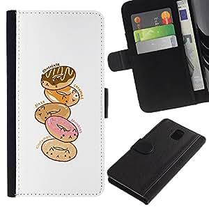 A-type (Doughnut White Pink Cartoon Drawing) Colorida Impresión Funda Cuero Monedero Caja Bolsa Cubierta Caja Piel Card Slots Para Samsung Galaxy Note 3 III