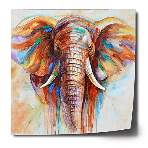 Crescent Art Original Design Modern Abstract Elephant Wall Art, Oil Painting on Canvas Print Wall Paintings for Living Room (28 x 28 inch, Unframed)