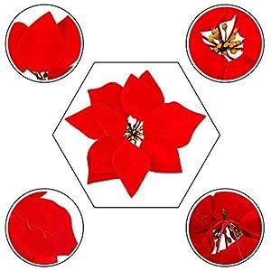 HMILYDYK 20PCS Xmas Tree Ornaments 8 INCH Red Poinsettia Flowers Festival Decor Artificial Flowers 3