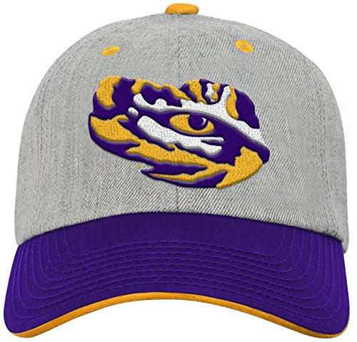 NCAA by Outerstuff NCAA Lsu Tigers Youth Boys Chainstitch Heather Twill Slouch Hat, Heather Grey, Youth One Size