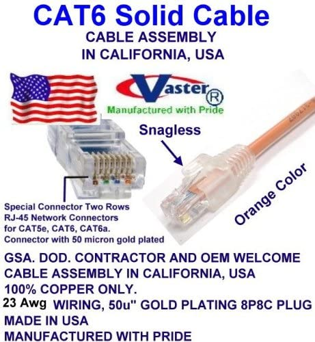 UL CMR UTP Cat.6 Ethernet Patch Cable ORANGE Made in USA SuperEcable SKU-81974 140 FT Pure Copper 23 AWG