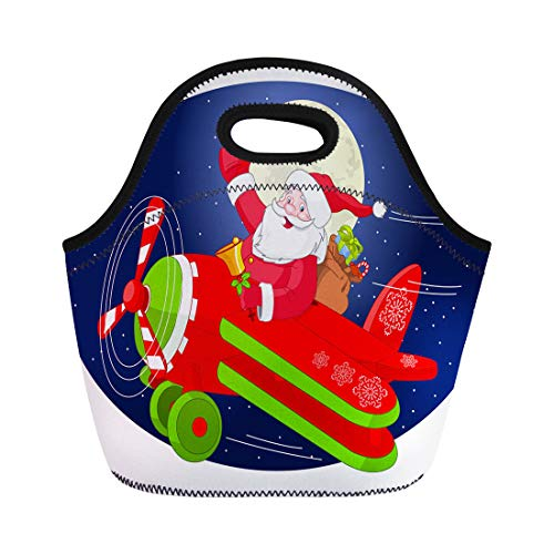 ch Tote Bag Cartoon of Santa Claus Is Flying in Airplane Through Reusable Cooler Bags Insulated Thermal Picnic Handbag for Travel,School,Outdoors, Work ()