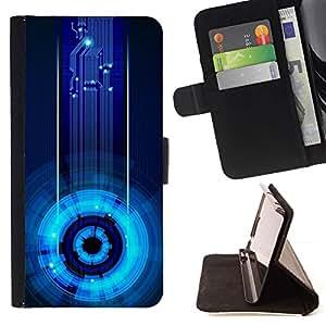 For Samsung Galaxy S6 EDGE (NOT S6) Plus / S6 Edge+ G928 Case , Estación Espacial cibernética Tech Azul Electrónico- la tarjeta de Crédito Slots PU Funda de cuero Monedero caso cubierta de piel
