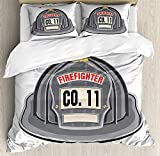 Fireman Duvet Cover Set, Grey Firefighter Accessory Part of The Official Uniform of Fire Department, Decorative 3 Piece Bedding Set with 2 Pillow Shams, Queen Size, Black Grey