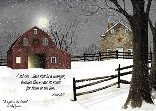 A Light in the Stable - LPG Billy Jacobs Religious Box of 16 Christmas Cards